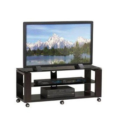 TV Media Stand with Solid MDF Legs in Rich Black Finish