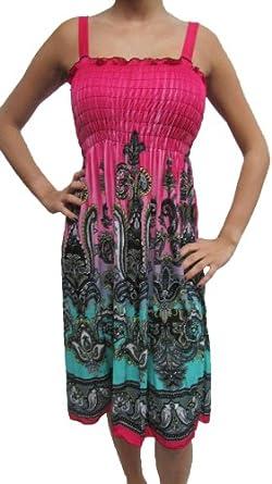 2626 Sun Dress Multi Colors Stretch Knee High Tank Top Women Dress Multi 16 L