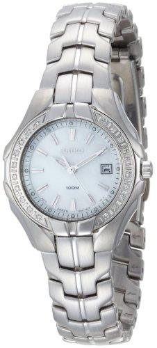 Seiko Women's SXDB69 Silver-Tone White Mother Of Pearl Dial 22 Diamonds Watch