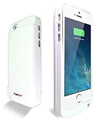 PowerBear® Stamina Series iPhone 5S, iPhone 5C, iPhone 5 Extended Rechargeable Battery Power Case with Built in PowerBank - White (Charges your iPhone 2.5X) comes with Free Screen Protector