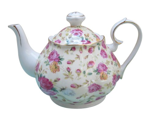 Gracie China by Coastline Imports Gracie China Rose Chintz Porcelain 4 1/2 Cup Teapot Cream Cottage Rose