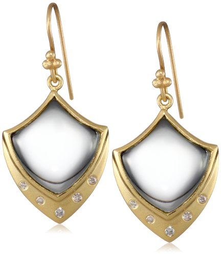 Lauren Harper Collection Sugar Buzz 18k Gold, Green Amethyst and Diamond Crest Earrings