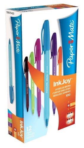 paper-mate-inkjoy-100-boligrafo-de-bola-retractil-12-unidades-punta-media-multicolor