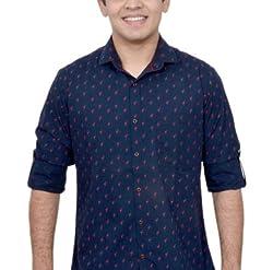 Ivory Men's Casual Cotton Shirt (2917-NB-XXL_Navy Blue)
