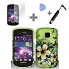 Rubberized Green Hawaiian Flower Snap on Design Case Hard Case Skin Cover Faceplate with Screen Protector, Case Opener and Stylus Pen for Samsung Illusion / Galaxy Proclaim i110 - Verizon / Straight Talk