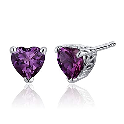 Revoni 1.50ct C522Heart Shape Stud Earrings in Sterling Silver Rhodium Finish