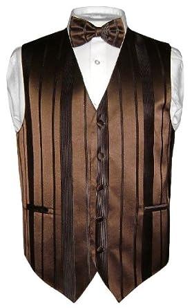 Men's Dress Vest BOWTIE Dark Brown Woven Striped BOW TIE Design sz 2XL
