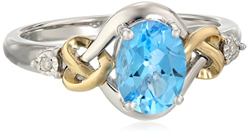 Love Knot Sterling Silver and 14k Yellow Gold  Swiss Blue Topaz  and Diamond Ring, Size 9