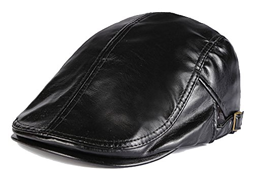 [ALLMILL Men Genuine Leather Duckbill Cap Vintage Ivy Newsboy Cap Flat Cap Cabby Hat (Black)] (Gatsby Outfits)