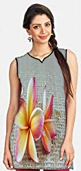 Snoogg Butterfly On Flowers Printed Womens Casual Short Kurti