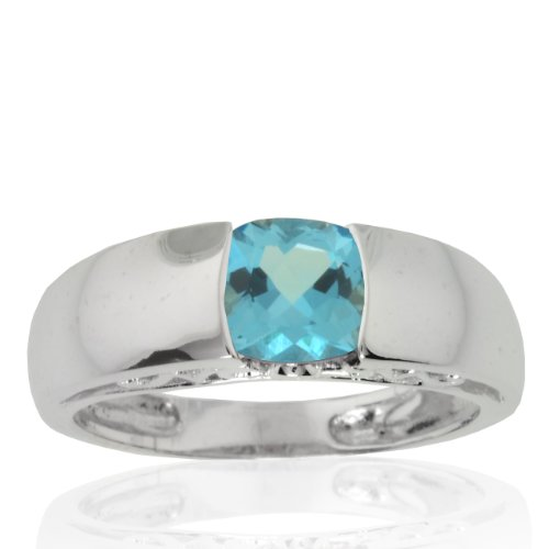 10k White Gold Blue Topaz and Diamond Mom Ring (.01 cttw, I-J Color, I1 Clarity), Size 5