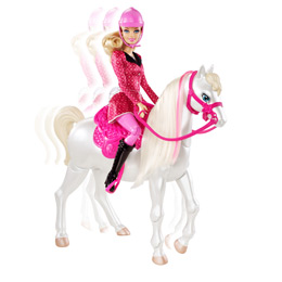 Barbie and Her Sisters in a Pony Train and Ride Horse Playset
