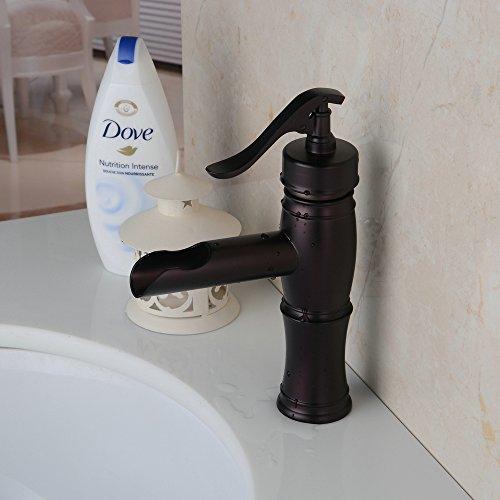 Find Discount HiendureTM Solid Brass Center Set One Hole Basin Mixer Tap Waterfall Bathroom Sink Ves...