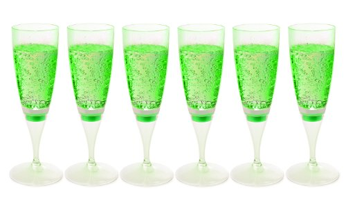 Ivation LED Waterproof Light-Up Champagne Flute Cups - Green LED Cup