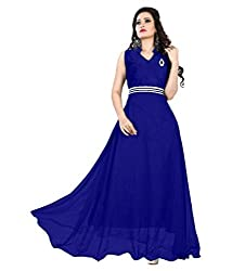 Vadaliya Enterprise Women's Velvet + Net Blue Gown