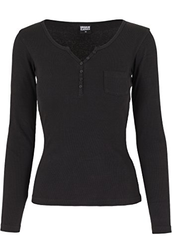 Urban Classics - Rib Pocket Long Sleeve Tee, T-shirt Donna, Nero (Schwarz), Medium (Taglia Produttore: Medium)