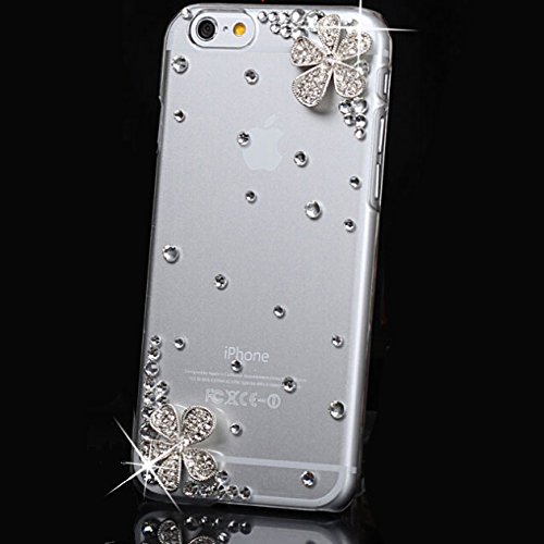 3d Handmade Clear Bling Flower Crystal Rhinestone Diamond Skin Case Cover for iPhone 6 4.7 inch Screen