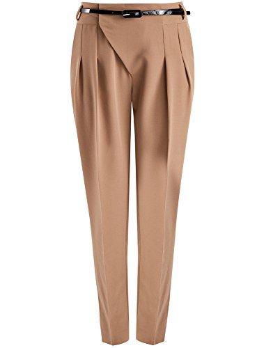 oodji Ultra Donna Pantaloni con Chiusura Spostata e Pieghe Cucite, Beige, IT 40 / EU 36 / XS