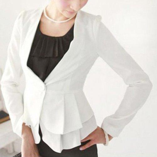 LW Woman Pleated Frills Suit Jacket White UK