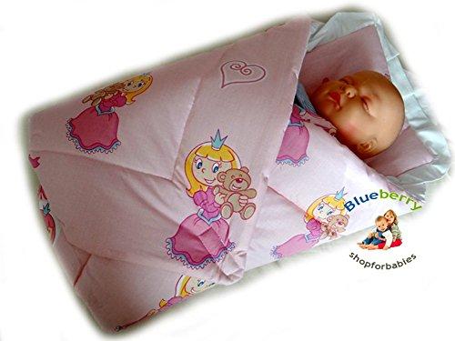 BlueberryShop Classic with Pillow Swaddle Wrap Blanket Sleeping Bag for Newborn, baby shower GIFT 100% Cotton, 0-3m ( 0-3m ) ( 78 x 78 cm ) Pink Princess - 1