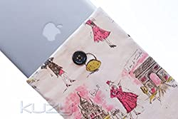Kuzy 13-Inch Paris Cotton Sleeve Cover for Macbook Pro 13-Inch MacBook Air 13-Inch and White MacBook - White/Gray