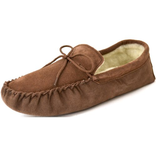 Snugrugs Men S Suede Sheepskin Moccasin Slippers With Soft