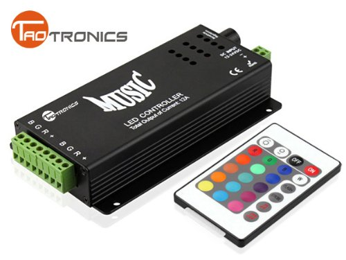 TaoTronics RGB Music Controller 2 Ports Output for Color Changing LED Strips with Remote Control 144w, 5050rgb