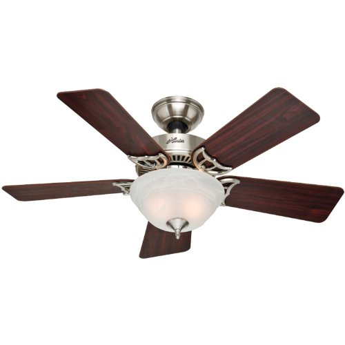 Hunter 51015 The Kensington 42-inch Brushed Nickel Ceiling Fan with Five Cherry/Maple Blades and Bowl Light Kit (42 In Ceiling Fan Brushed Nickel compare prices)