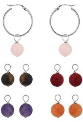 Sterling Silver Interchangeable Multi-Gemstone Drop Hoop Earrings Set