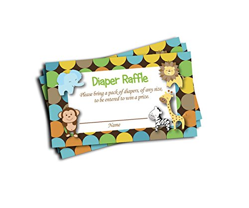 Jungle Printed Diaper Raffle Tickets Boy Neutral Baby Shower (50-cards) (Baby Shower Themes compare prices)