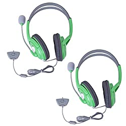 HDE 2 Pack Gaming Chat Headphones Headsets with Microphone Mic for Xbox 360 Live (Green)