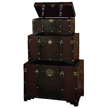 Deco 79 Classic Old Time Leather N Wood Chest Trunk, Brown, Set of 3