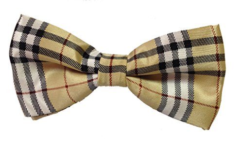 Mens Plaid Bow Ties (Tan And Red)