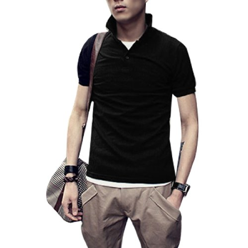 Men Short Sleeve Polo Collar Casual T Shirt Top