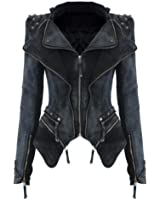 Women Lady Punk rivet Studded Shoulder Denim Jeans Coat Blazer Jacket Moto Blazer Coat S-XXL (M, Grey)