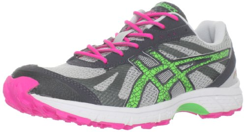 ASICS Women's GEL-Fuji Racer Trail Running Shoe,Grey/Neo Green/Hot Pink,9 M US