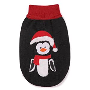 Zack & Zoey Acrylic Holiday Penguin Dog Sweater, X-Small, Black