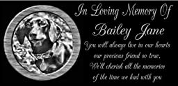12 x 6 Lazer Gifts Personalized Black Granite Pet Memorial Marker Style Bailey