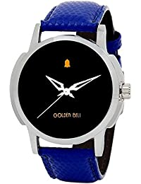 Golden Bell Original Black Dial Blue Strap Wrist Watch For Men