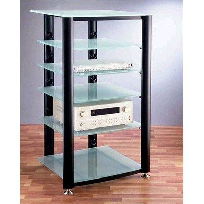 Hgr Series 6-Shelf Audio Rack Frame Finish: Black, Glass Color: Frosted