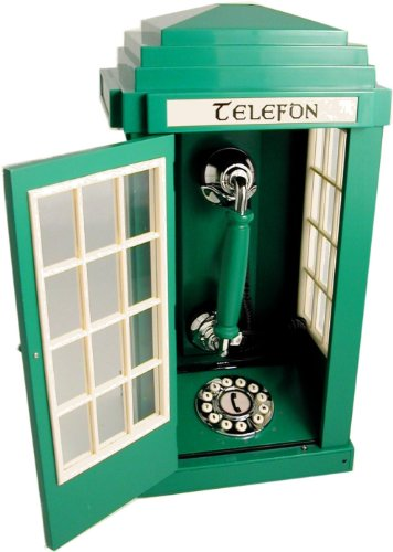 Green Irish Pubic Telephone Box Phone (Eire Telefon pay phone) Steepletone SIPB15 image
