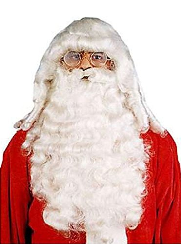 Popcandy Professional Deluxe Santa Wig & Beard Set for Christmas (Child Santa Wig And Beard)