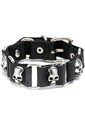 Black Pu Leather Skull Bracelet Adjustable Size 7 to 9 Inches.