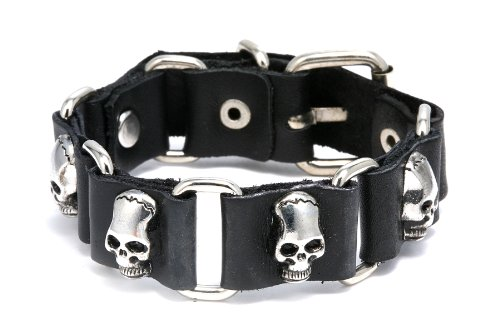 Pu Leather Skull Design Bracelet Adjustable Size 7 to 9 Inches Include a Gift Puuch