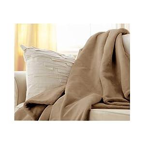 Sunbeam Luxurious Velvet Plush Heated Electric Warming Heating Throw Blanket, Mushroom Beige