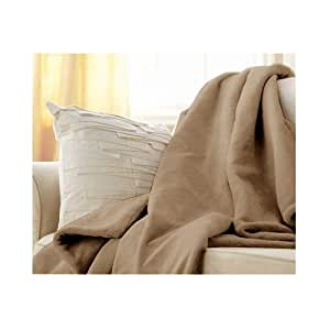 Sunbeam Luxurious Velvet Plush Heated Electric Warming Heating Throw Blanket, Mushroom Beige