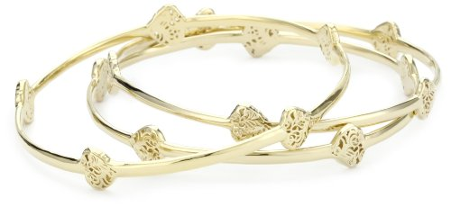 GALA by Daniela Swaebe Sacred Heart Yellow Gold Stack Bangle Bracelet