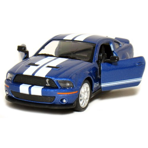 "5"" 2007 Ford Shelby GT500 with Stripes 1:38 Scale (Blue) - 1"