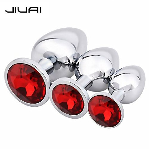 JIUAI 3Pcs Luxury Jewelry Design Fetish Stainless Steel Anal Butt Plug Fantasy Sex Restraints Bondage SM Large+Medium+Small Anal Stimulation toy for Unisex Masturbation With Penis Condom(Red)