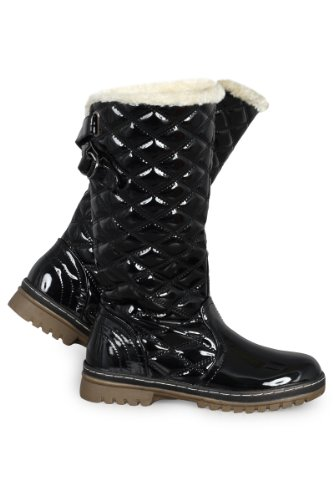 64R Womens Black Patent Quilted Ladies Grip Sole Winter Snow Calf High Boots Size 5 US